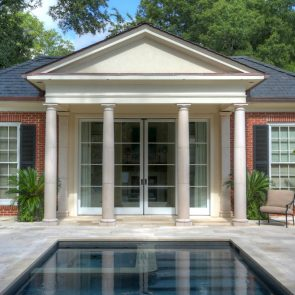 cast stone tuscan columns in residential pool area