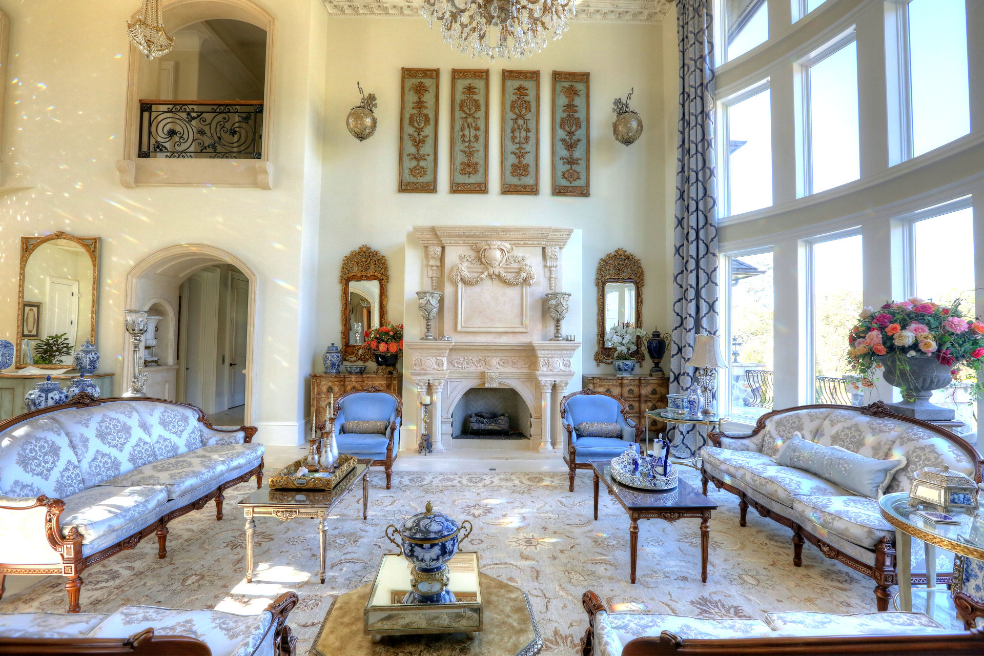 stately traditional stone fireplace mantel